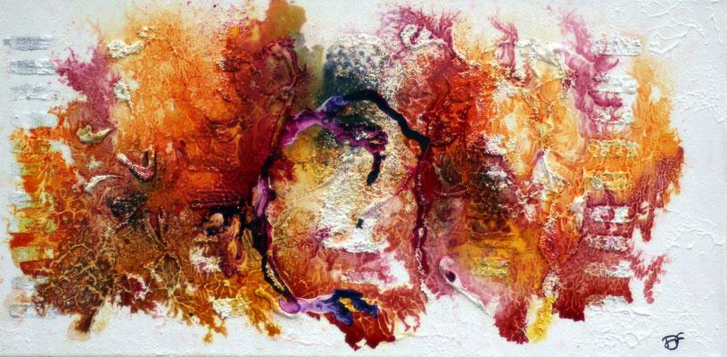"""""""RETOUR DES ILES"""" 2014 Acrylique, encre et sable sur toile - 40cm X 30cm"""