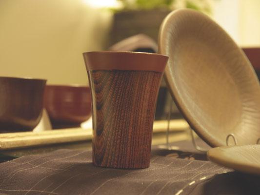 鎌倉彫 ぐい呑み 木目|鎌倉漆工房いいざさ
