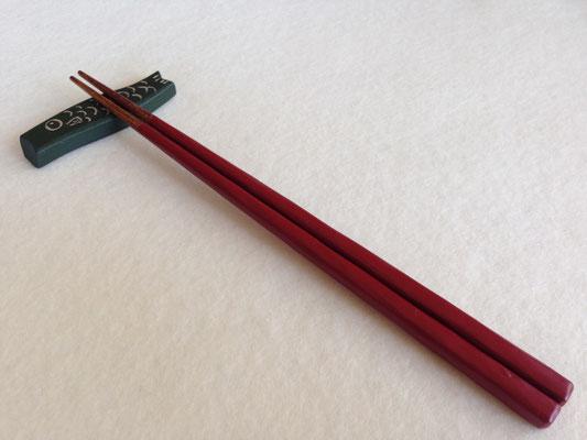 鎌倉彫 箸 金×朱 21.5㎝|鎌倉漆工房いいざさ