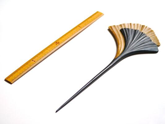 鎌倉大銀杏かんざし 黒×金|鎌倉漆工房いいざさ