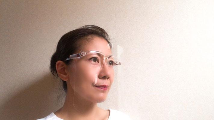 フェイスシールド用アクセサリー/ハーフリムメガネに装着