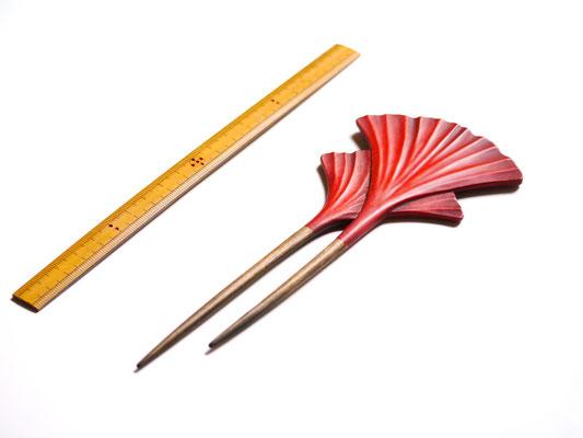 鎌倉大銀杏かんざし 赤×赤|鎌倉漆工房いいざさ