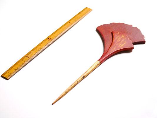 鎌倉大銀杏かんざし 赤×金|鎌倉漆工房いいざさ
