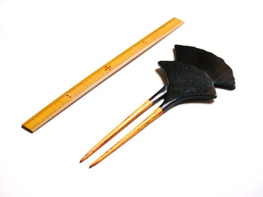 鎌倉大銀杏かんざし 黒×螺鈿(らでん)|鎌倉漆工房いいざさ