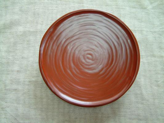 鎌倉彫手刳り皿 刀華|朱塗り