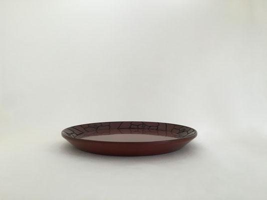 鎌倉彫 勾配盆 椿|鎌倉漆工房いいざさ