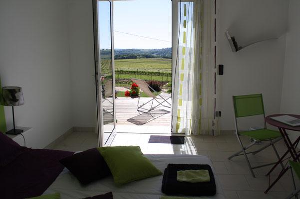 vue sur la terrasse depuis la chambre vert anis