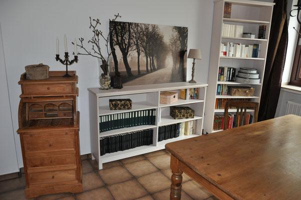 Wohnzimmer mit Bibliothek und Essplatz