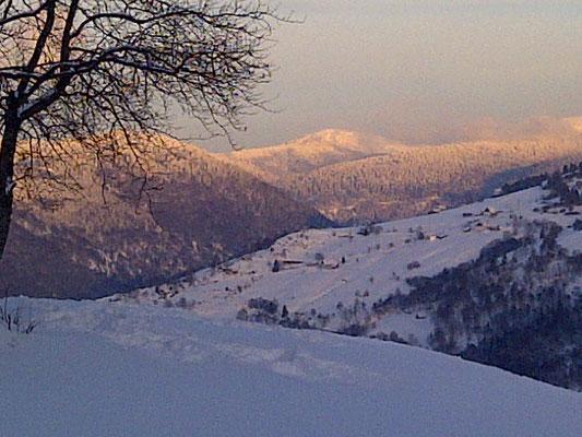 Vue hivernale depuis la ferme à la Bresse