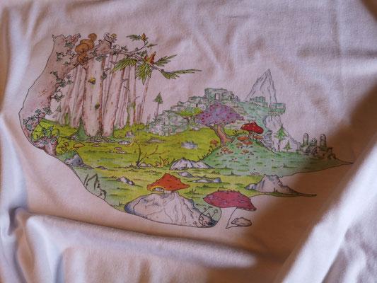 Handzeichnung ( Fantasiewelt ) für T-Shirt mit Druck im ART-DEKO-Stil