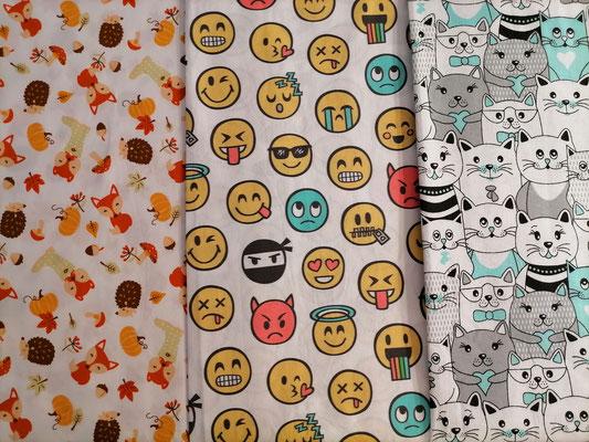 Motiv-Stoffe f. Gesichtsmasken (100% Baumwolle), Herbst, Emotjis, Katzen