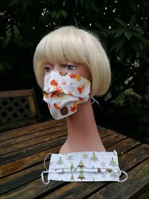 Schutzmasken mit Herbst, Weihn.Motiven aus 100% Baumwollstoff, doppellagig, waschbar, mit Nasenklammer, Haltegummi verstellbar
