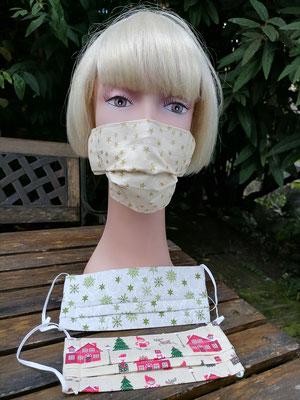 Schutzmasken mit Weihnachtsmotiven aus 100% Baumwollstoff genäht, doppellagig, waschbar, mit Nasenklammer, Haltegummi verstellbar