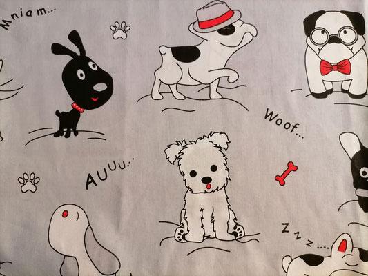 Motiv-Stoff f. Gesichtsmasken (100% Baumwolle), Hunde
