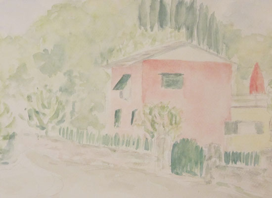 2012 Cinque terre Das rosa Haus 25x34