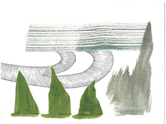 separate together, Ausgangsserie, Arbeits-Reihenfolge der Künstlerinnen:  Eva Hradil, Jenny Lundgren, Heike Schäfer
