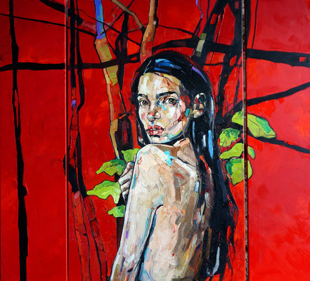 RED FOREST 130x150cm, triptych, 2016