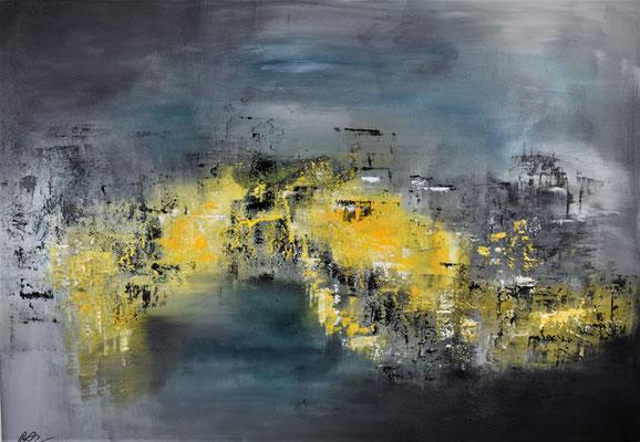 Spuren des Lichtes Acryl/Struktur 70 x 100