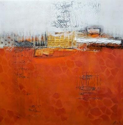 Orange Power 40 x 40 Acryl/Collage