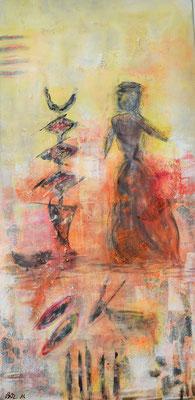 Markt in Benin 50 x 100 Acryl/ Collage