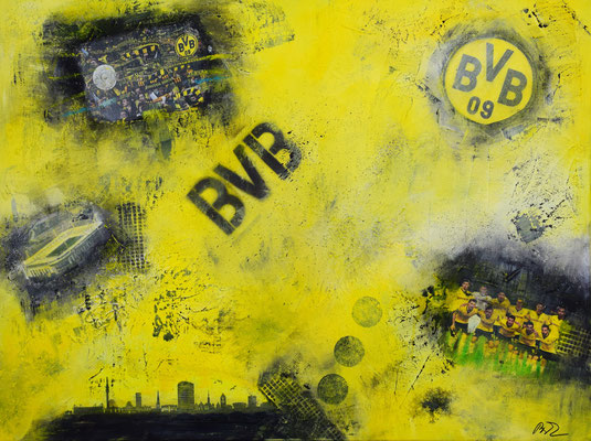 Borussia Dortmund 60 x 80 Collage . Geschenk für einen Dortmundfan