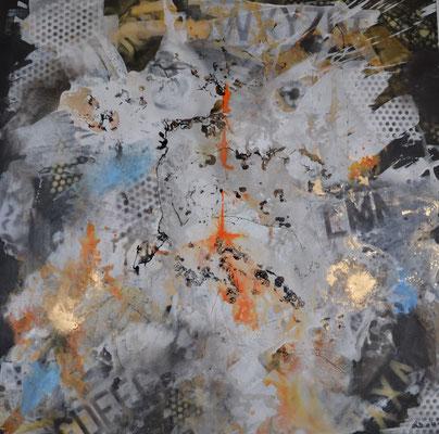 Rush hour 100 x 100 Acryl mixed media (unverk.)
