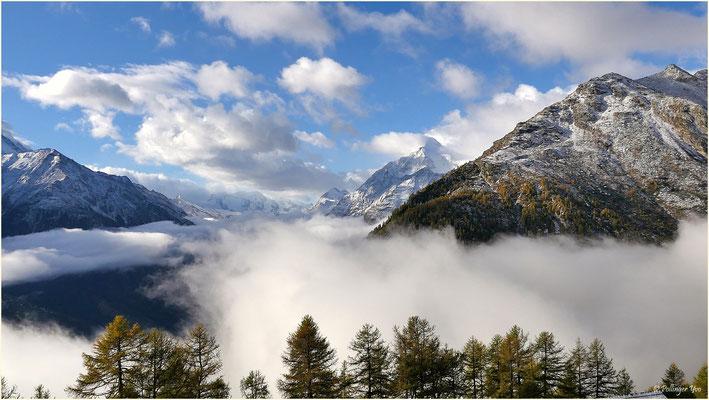 Grächen und das Nikolaital in Nebel gehüllt 08.10.2017