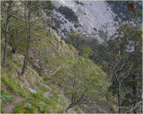 Schmaler steil abfallender Weg Bietschtal 10.05.2014