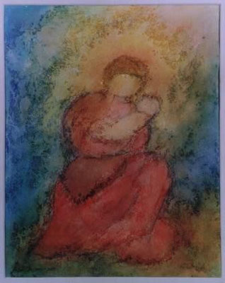 Maria mit Kind - Aquarell