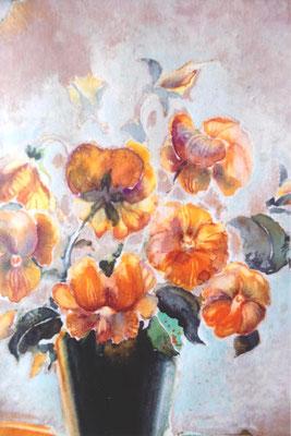 Stiefmütterchen - 40 x 50 cm, Tempera auf Papier