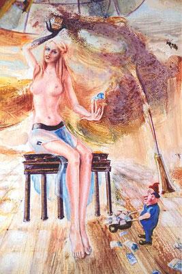 Thema Deutsche Einheit: Das Begrüßungsgeld - 70 x 90 cm, Öl auf Holz, 1990