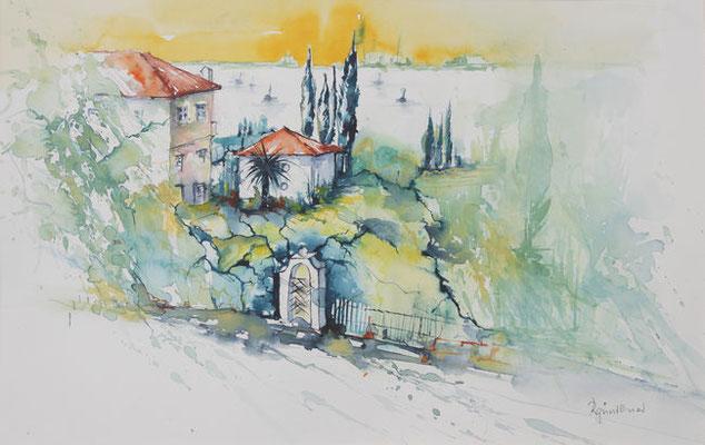 """Gardasee - Blick auf Sirmione"", Aquarell"