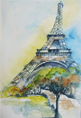 """Paris - Eiffelturm"", Aquarell"