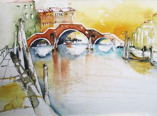 """""""Venedig - Tre Archi"""", Aquarell"""