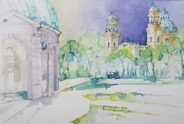 """""""München - Hofgarten"""", Aquarell"""