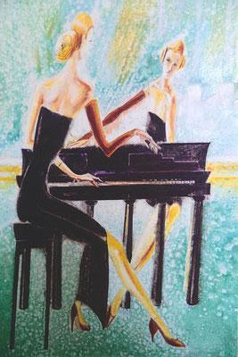 Thema Deutsche Einheit: Die 2 Deutschland symbolisiert durch 2 Schwestern. Sie sitzen sich gegenüber. Das Brandenburger Tor ist ihr Klavier, auf dem sie die Melodie der Gemeinsamkeit üben. - 90 x 140 cm, Öl auf Holz, Jan. 1990