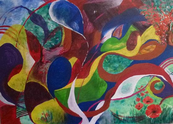Bewegung 1 - Acryl, 70 x 50 cm