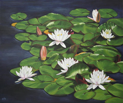 """Seerosen"" - Acryl auf Leinwand, 60 x 50 cm"