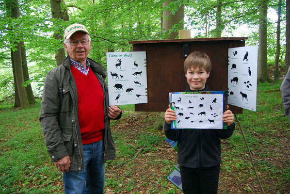 Wissensquiz für Schulklassen über die Tiere im Wald auf dem Lehrpfad Bothkamp