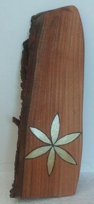 Kirschholz mit Sonnenmalerei und Blätter mit Goldlack ausgelegt , ca 10x 25cm geölt