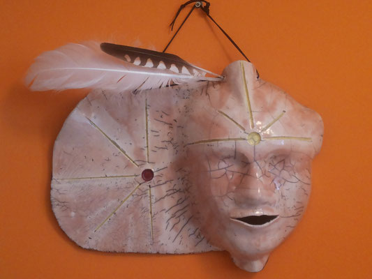 Gesicht  , Keramik Rakubrand, ca.30x40cm