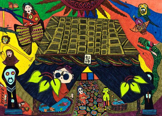 「虹神神社」 サイズ:213×297mm 銅版画に手彩色/紙