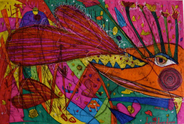 「大きなゲップ」 サイズ33.5×49.5cm 銅版画・手彩色/紙