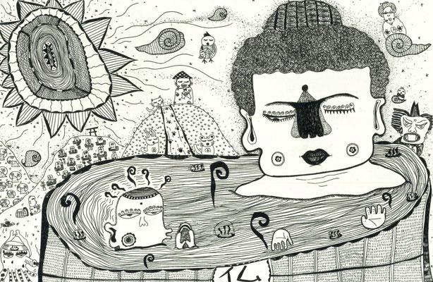 「虹神様と大仏様は混浴中」のモノクロ サイズ:138×209mm 銅版画/紙