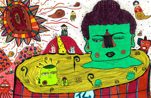 「虹神様と大仏様は混浴中」 サイズ:138×209mm 銅版画に手彩色/紙