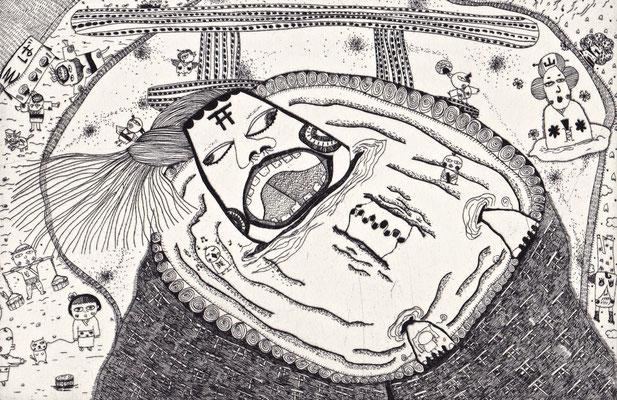 「鳥居の神様」のモノクロ サイズ:120×182mm 銅版画/紙