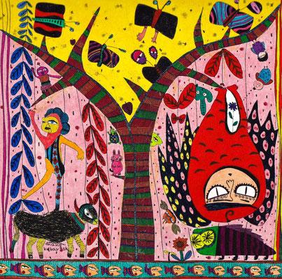「福を祈るふくろう」 サイズ:150×150mm 銅版画に手彩色/紙