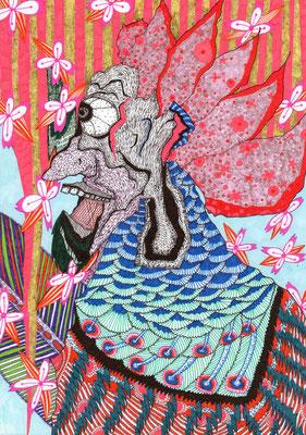 「桜に救われ」 サイズ21×14.5cm ペン画・紙