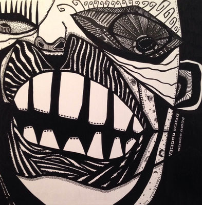 「閻魔大王」 サイズ30×30cm ペン画/パネル
