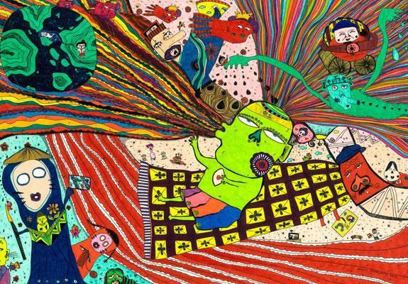 「虹神様仕事中」 サイズ:205×297mm 銅版画に手彩色/紙